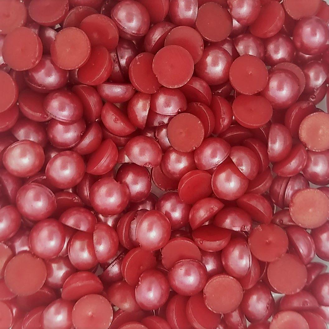 Meia Pérola Colagem ABS Cor Vermelho 4mm a 10mm