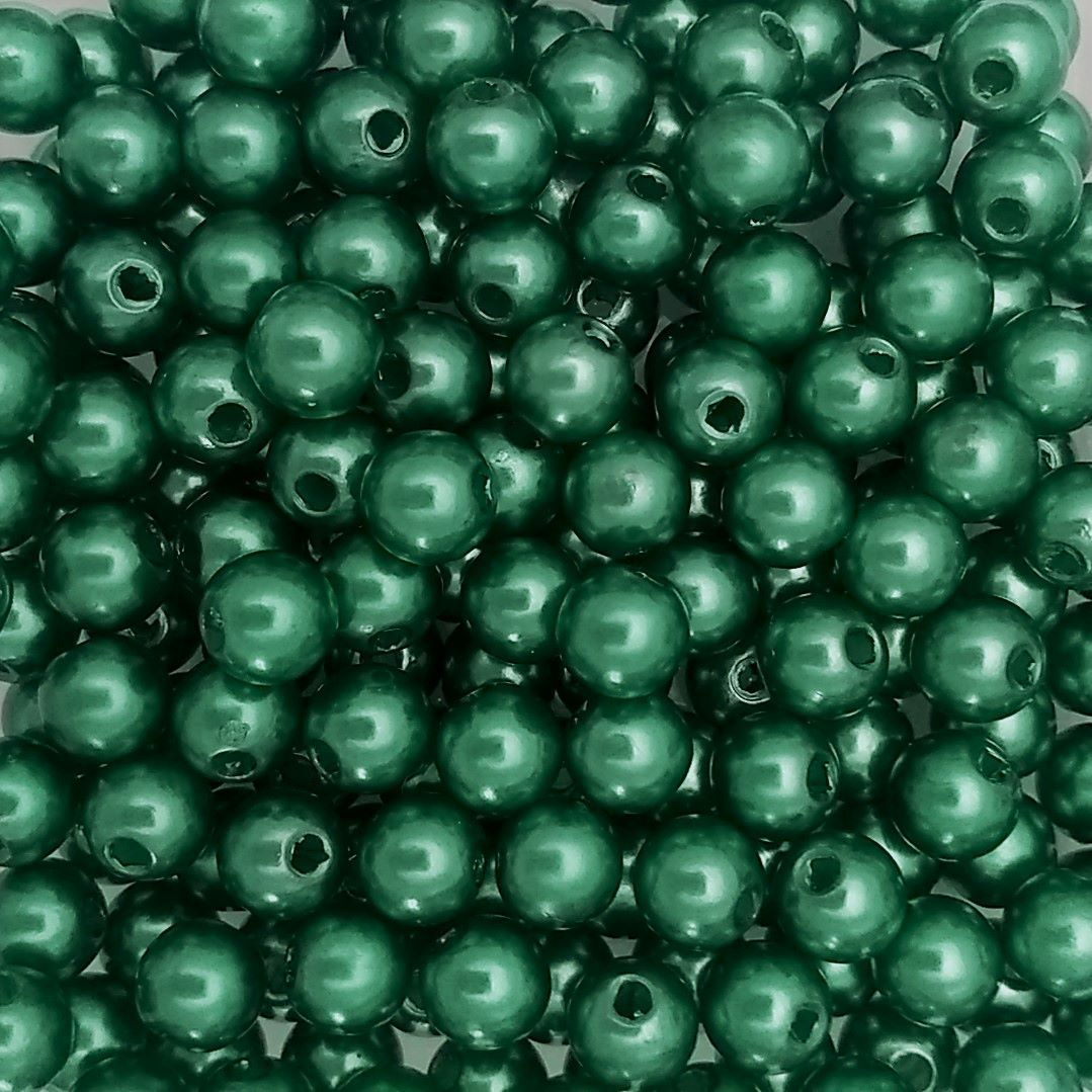 Pérola ABS Cor Verde Escuro 4mm a 10mm - 500gr