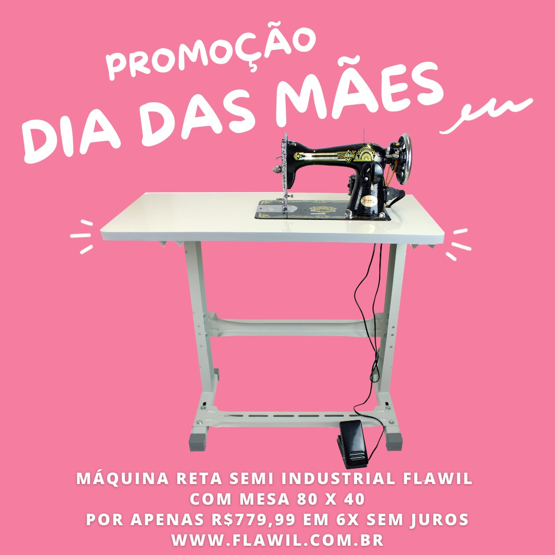 PROMOÇÃO DIA DAS MÃES - Máquina de Costura Reta Doméstica Retrô Com Mesa