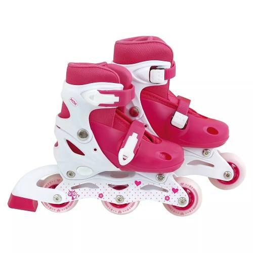 Patins Roller Infantil Rosa Ajustável Do 30 A 33 - Mor