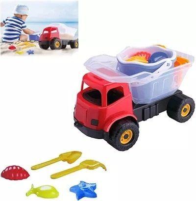 Caminhão Caçamba Basculante Dino Praia Com Balde E Acessório