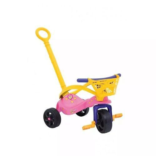 Triciclo Fofinha C/ Empurrador Proteção E Cestinha Xalingo