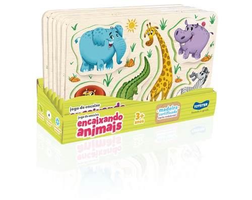 Quebra-cabeça Jogo De Encaixe Animais Em Blocos De Encaixar