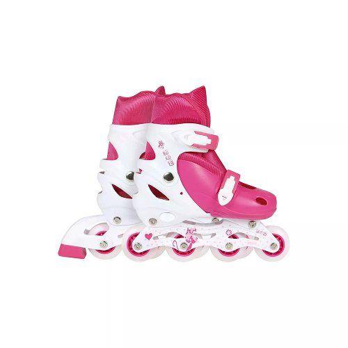 Patins Roller Infantil Rosa Regulagem De Tamanho 34 Ao 37