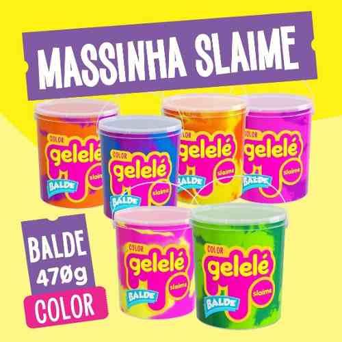 Gelelé Slime Massinha Meleca Color Kit 3 Unids Balde Sortido