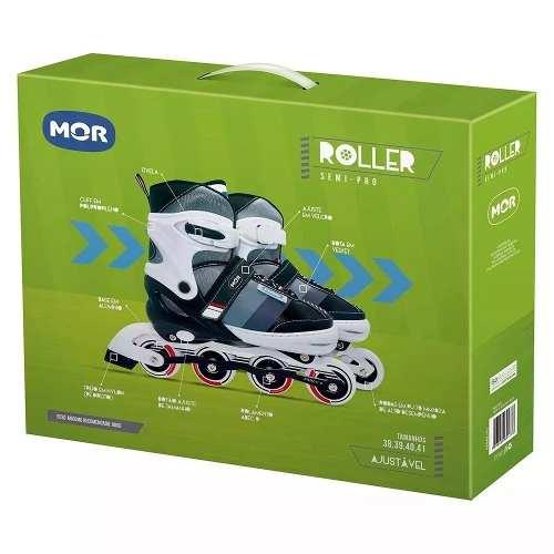 Patins Roller Semi-pro Ajustável Do 38 A 41 - Mor