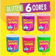 Gelelé Slime Massinha Meleca Glitter Kit 3 Unids Balde Sort.