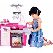 Cozinha Infantil Classic Armário Pia Fogão Rosa - Cotiplás FULL