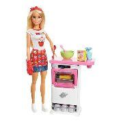 Boneca Barbie Cozinheira E C/ Fogão Chef 30cm - Mattel Fhp57