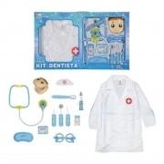 Kit Dentista Infantil Avental E Acessórios Azul Menino - Fenix