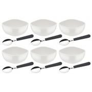 Kit Sobremesa 6 Potes e Talher Mix Color Branco - Tramontina