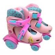 Patins Roller Ajustavel Belinda Rosa do 27-30 - DmToys 5874