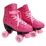 Patins Roller Estilo New Rosa Tamanho 36 - DmToys 5856
