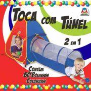 Tenda Barraca Toca com Túnel 60 bolinhas 2 em 1 - Braskit
