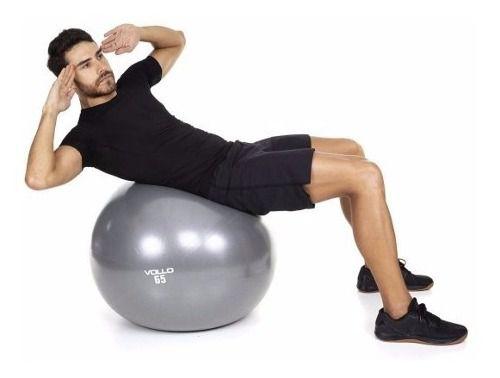 Bola Suiça Exercicio Gym Ball 65cm Cinza - Vollo Vp1035 FULL