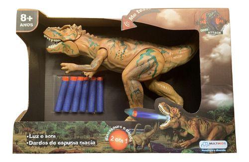 Dinossauro Dino Attack Lança Dardo Luz E Som - Multkids