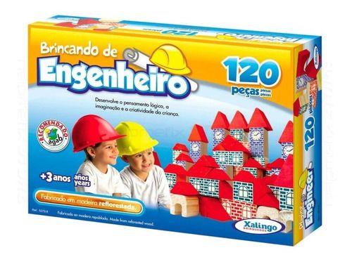 Blocos De Montar em Madeira Engenheiro 120 Peças - Xalingo