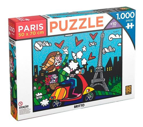 Quebra Cabeça Romero Britto Paris 1000 Peças - Grow 03746