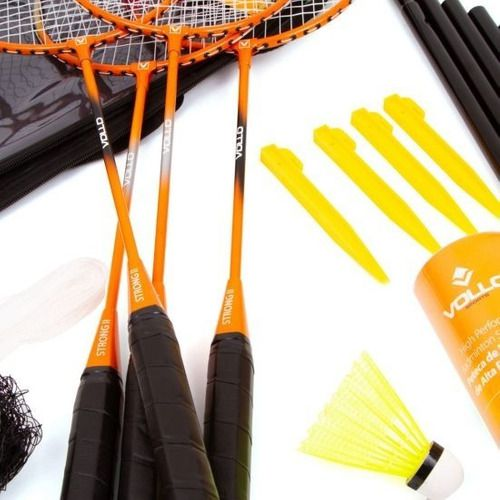 Kit Badminton 4 Raquetes Com 3 Petecas E Rede - Vollo Vb004 full