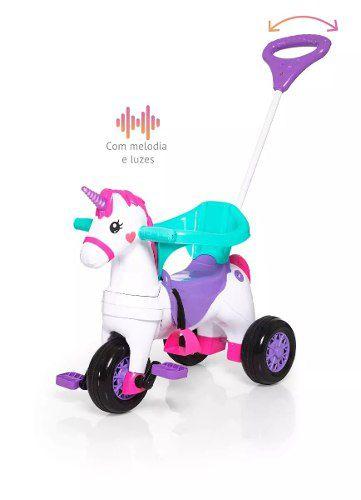 Triciclo Infantil Empurrar Passeio Calesita Velocita Fantasy