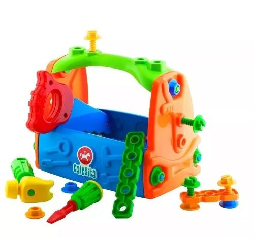 Caixa De Ferramentas Infantil 18pçs Kit Ferramentas Maleta