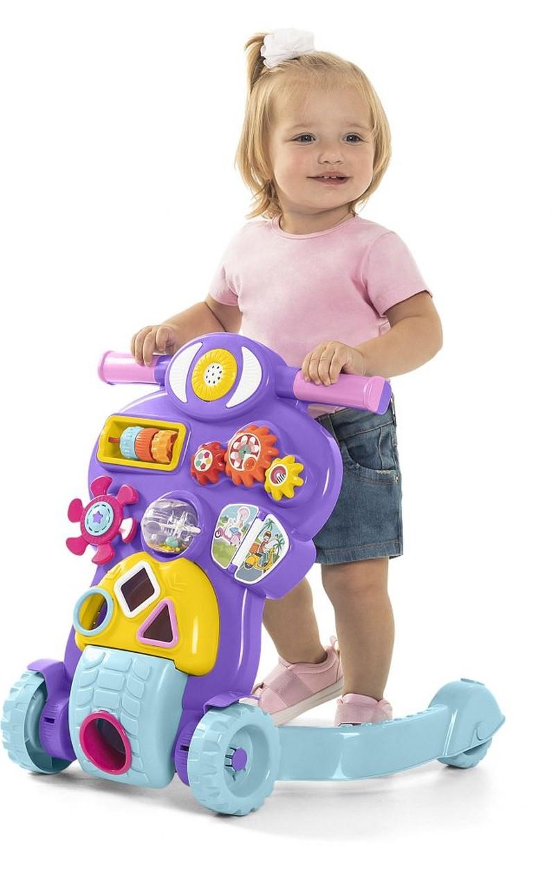 Andador Bebê Piloto Rosa Infantil Calesita - Tateti