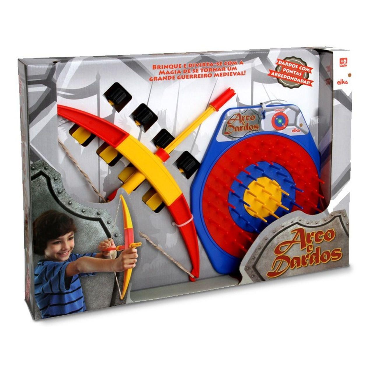 Arco E Flecha Infantil Com Dardos E Alvo 25 Cm - Elka