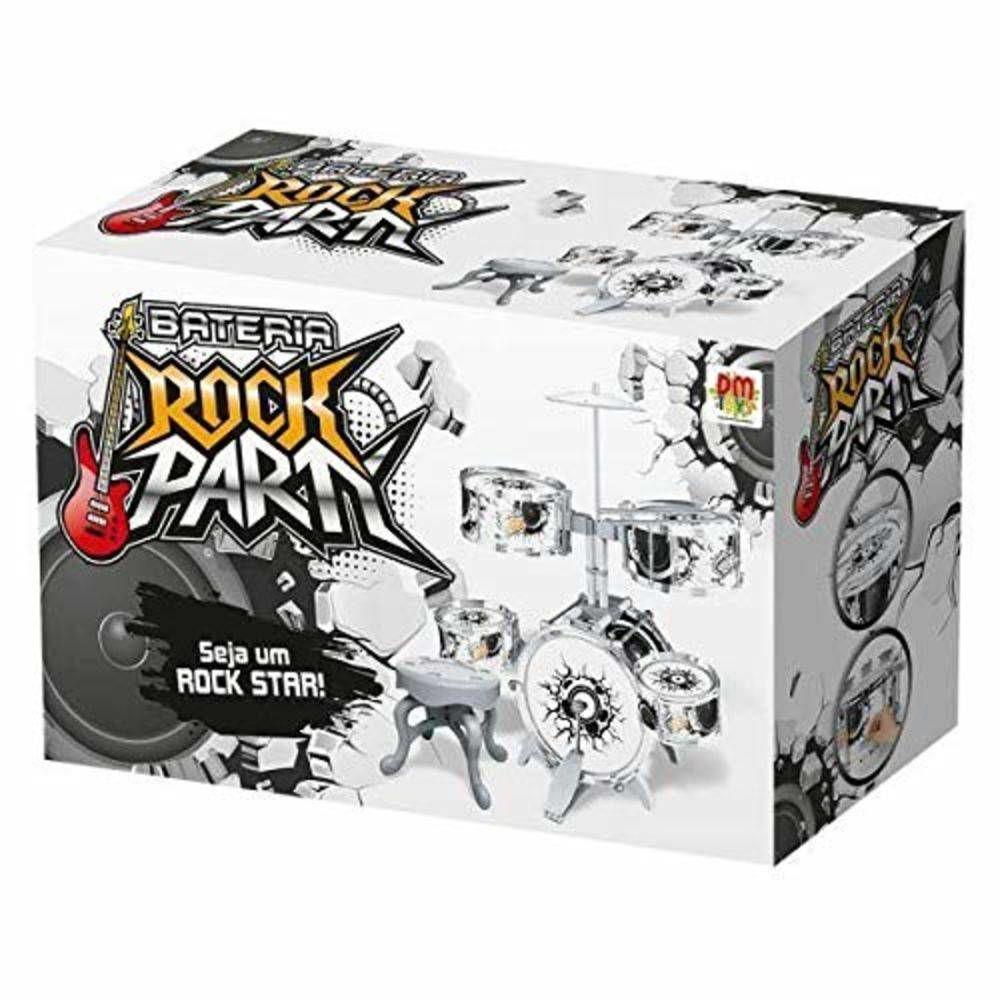Bateria Infantil Rock Party Com Banquinho e Baquetas - DMToys