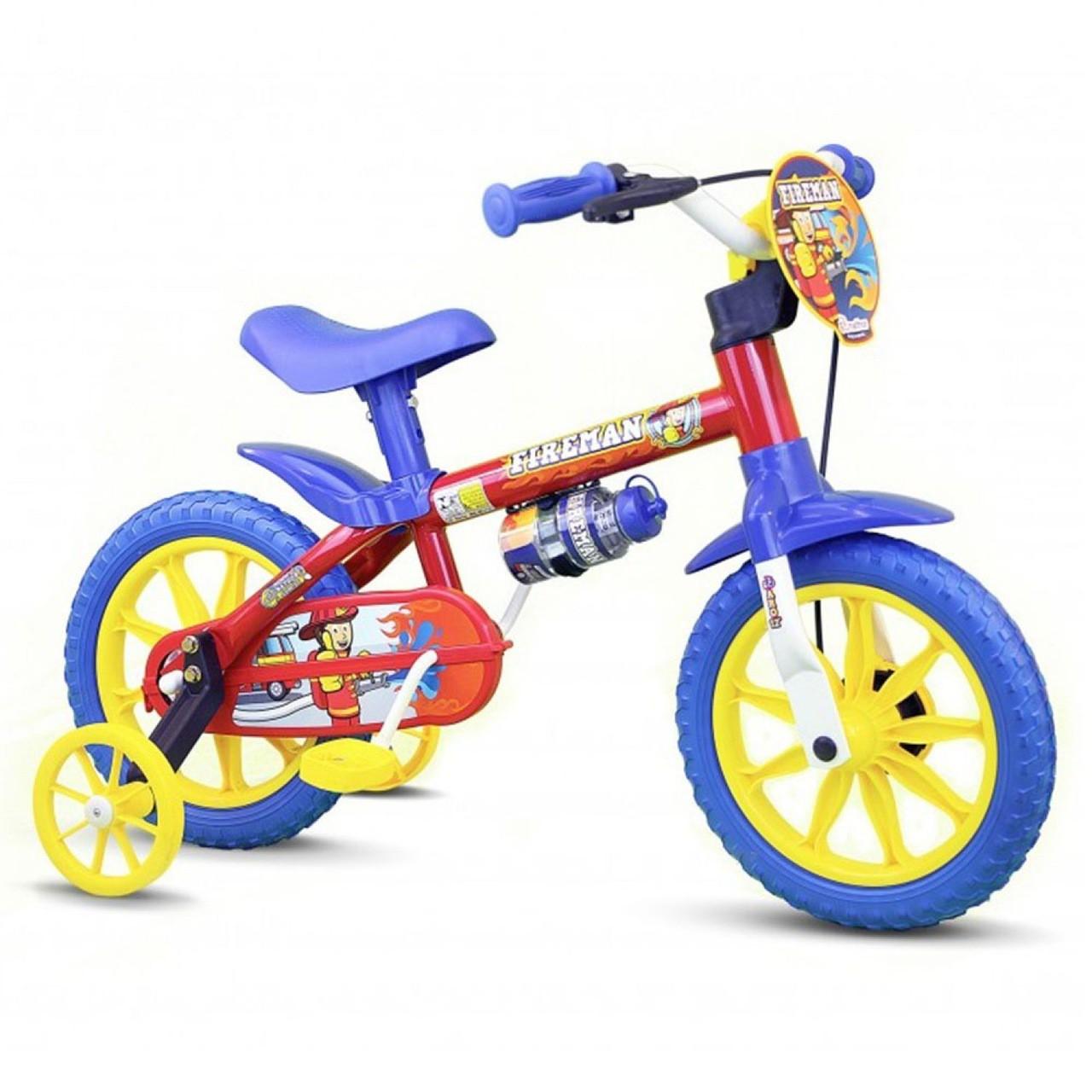 Bicicleta Aro 12 Infantil Menino Fireman 10 - Nathor