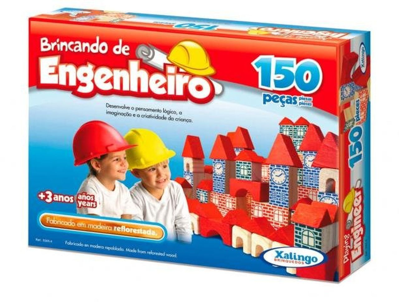 Blocos De Montar em Madeira Engenheiro 150 Peças - Xalingo