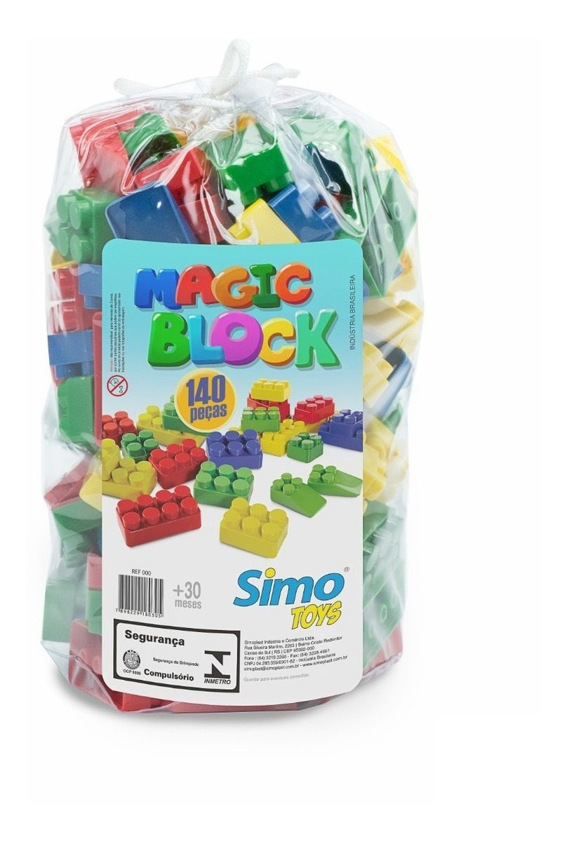 Blocos de Montar Magic Block 140 Peças - Simo Toys