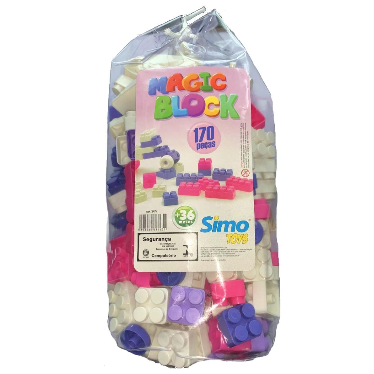 Blocos de Montar Magic Block 170 Peças Rosa - Simo Toys