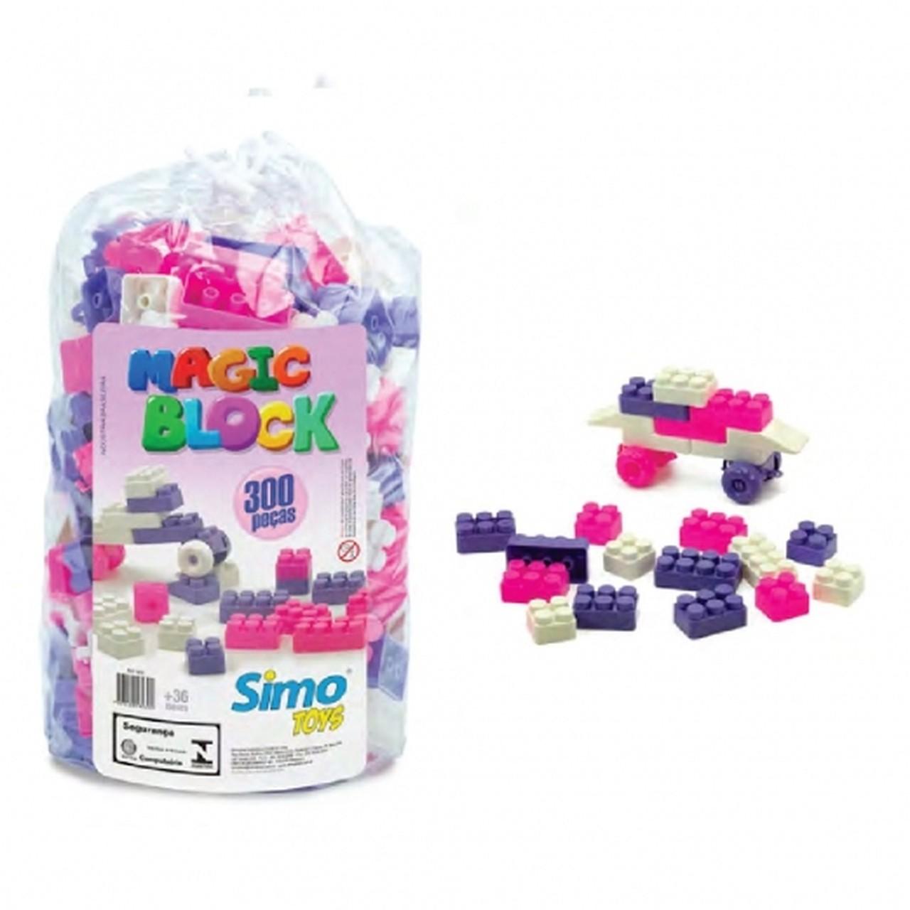 Blocos de Montar Magic Block 300 Peças Rosa - Simo Toys