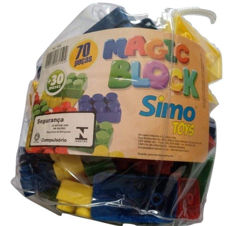 Blocos de Montar Magic Block 70 Peças - Simo Toys