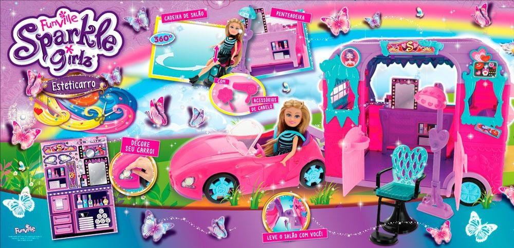 Boneca Sparkle Girlz Com Salão De Beleza Esteticarro - Dtc