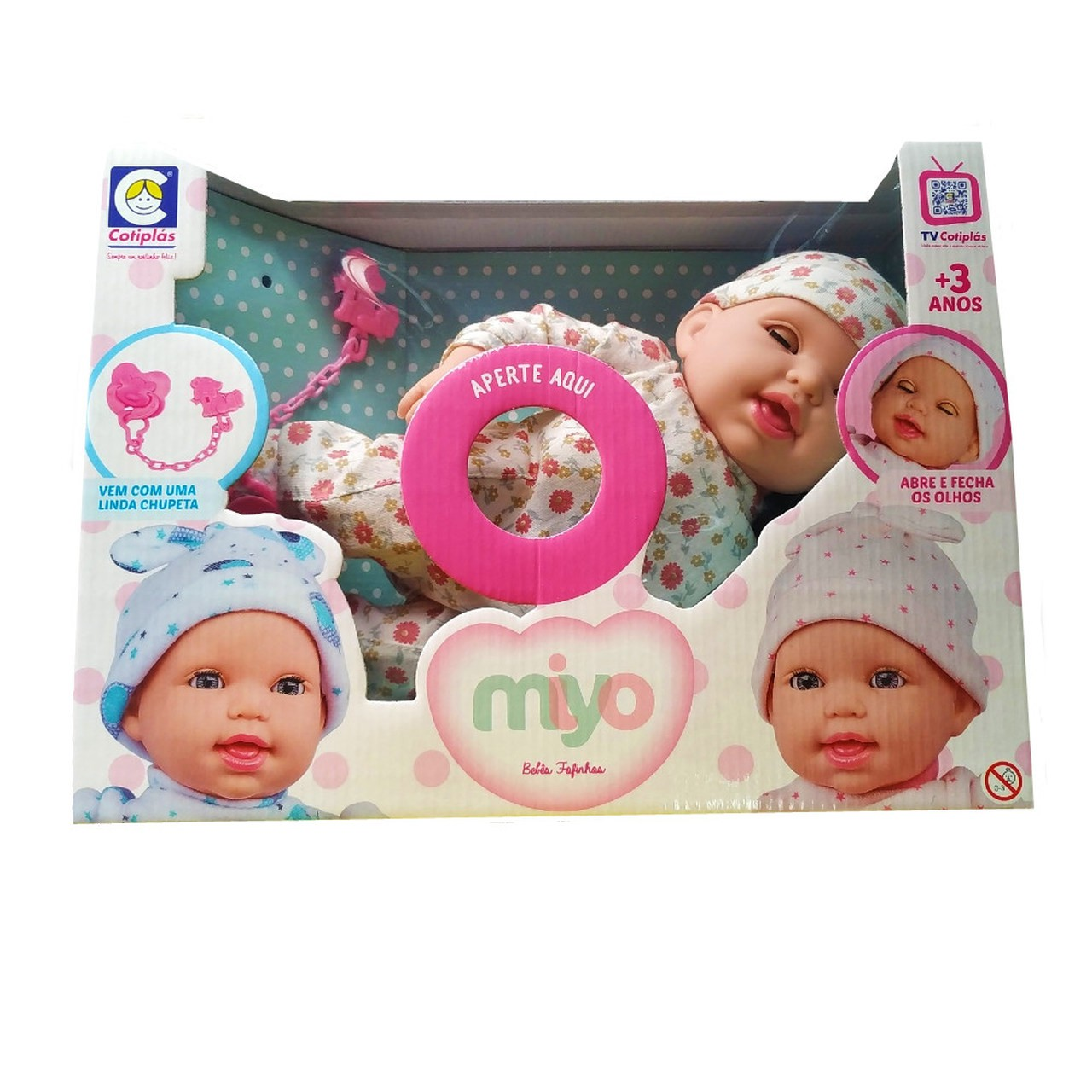 Boneco Bebê Miyo c/ Sons de Bebê Florzinha - Cotiplas 2391