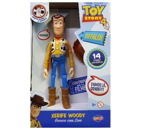 Boneco Woody Toy Story 4 de Plastico Com 14 Frases - Toyng
