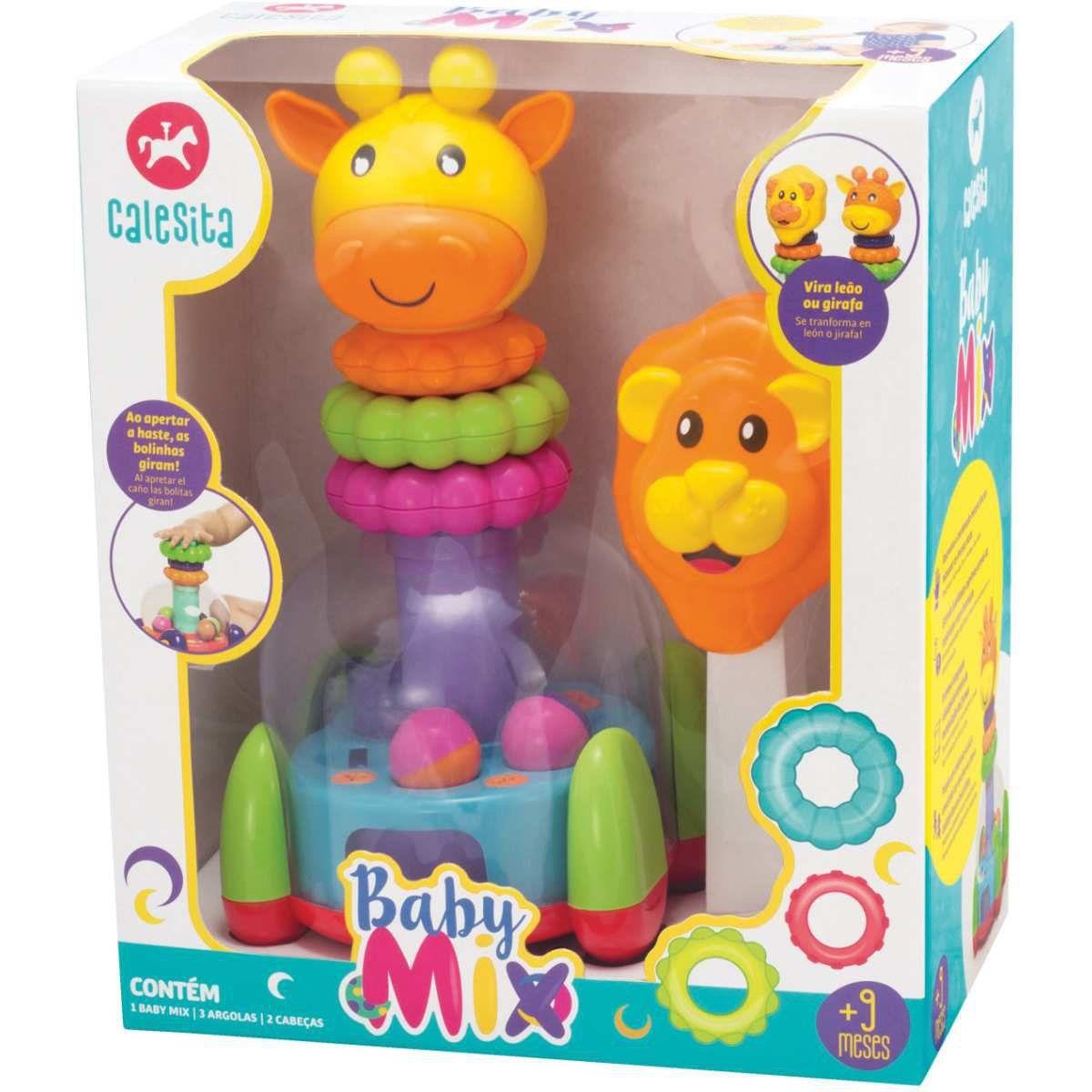 Brinquedo Educativo Baby Mix Leão E Girafa - Calesita 863