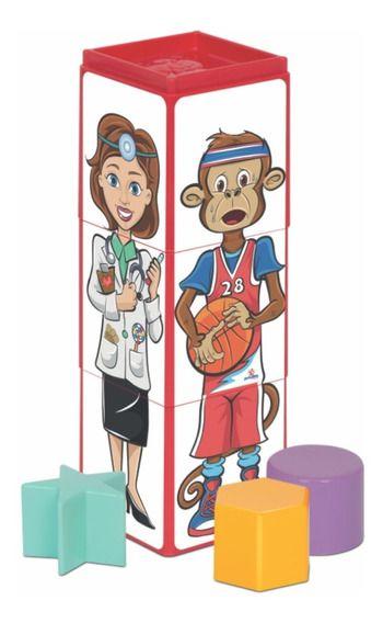 Brinquedo Educativo Cubinhos 4 Em 1 Expressões - Mercotoys