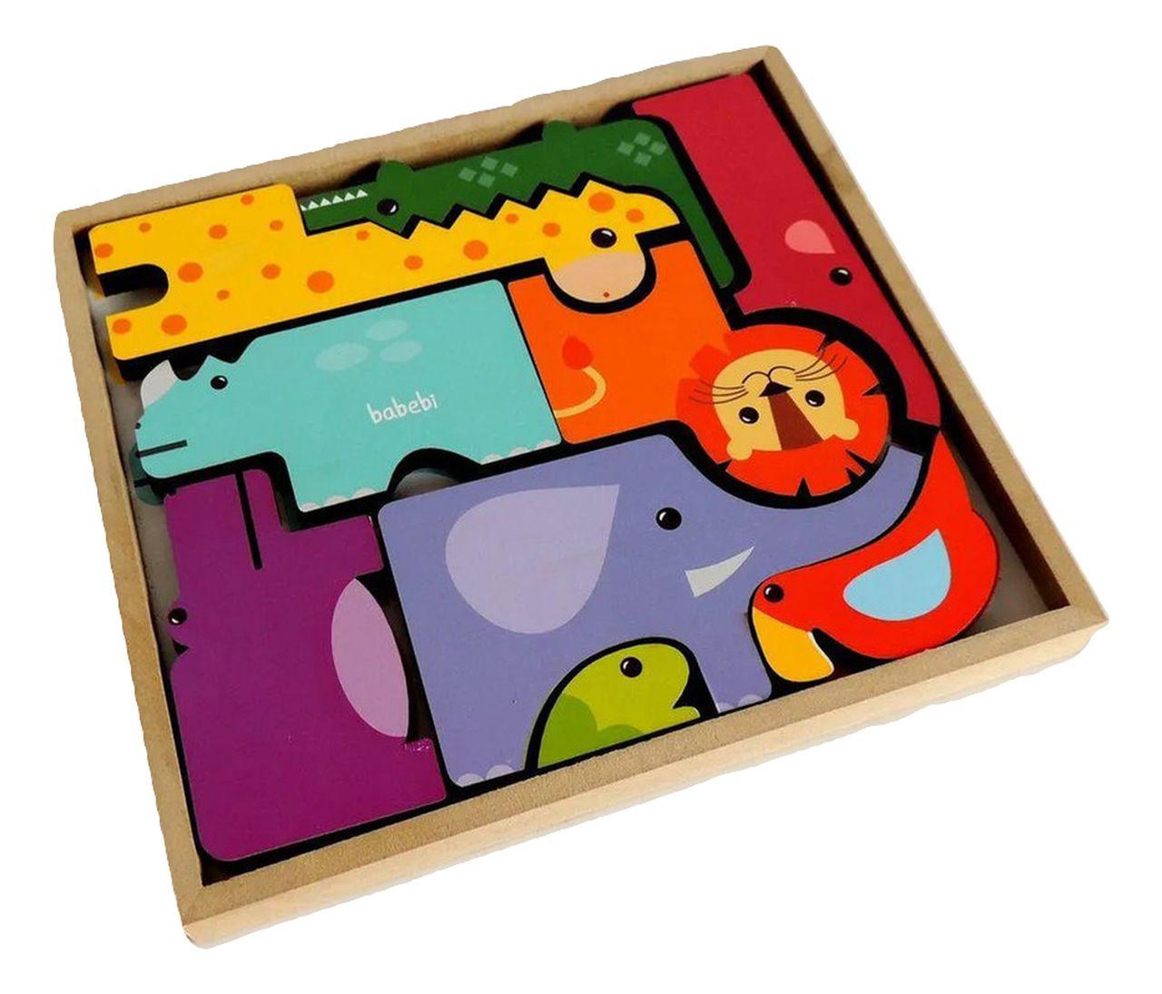 Brinquedo Educativo Monte e Empilhe Safari - Babebi