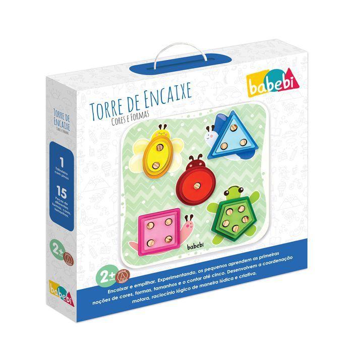 Brinquedo Educativo Torre de Encaixe Cores e Formas - Babebi