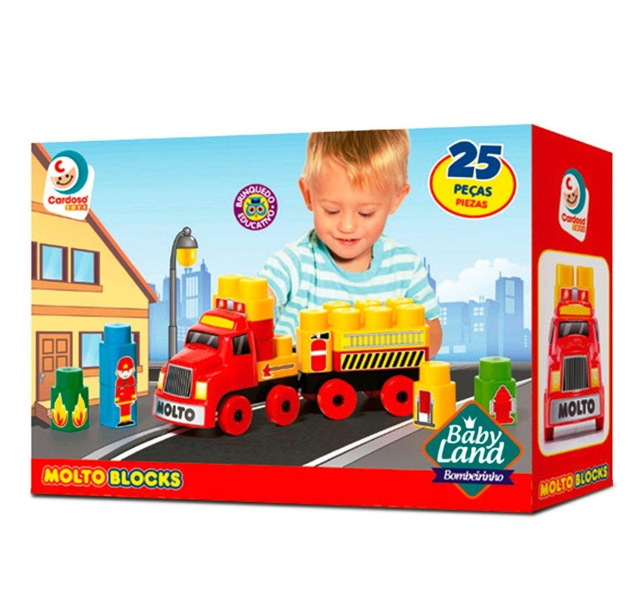 Brinquedo Infantil Caminhão Bombeirinho 25 Peças - Cardoso