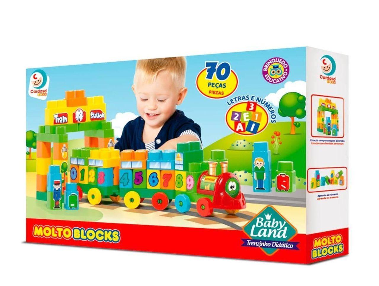 Brinquedo Infantil Trenzinho Didatico 70 Peças - Cardoso