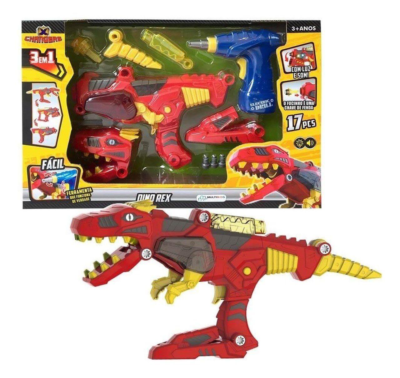 Brinquedo X Changers Dino Rex 3 X 1 Com Luz E Som Multikids