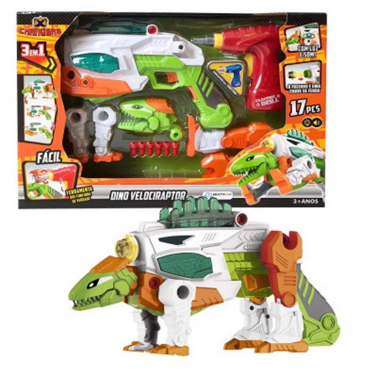 Brinquedo X Changers Velociraptor 3 X 1 Luz E Som Multikids