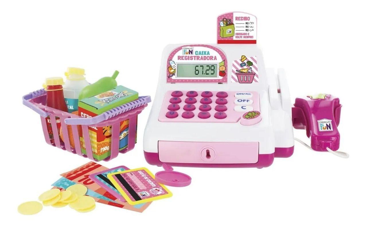 Caixa Registradora Mercadinho Infantil Rosa Multikids Br387