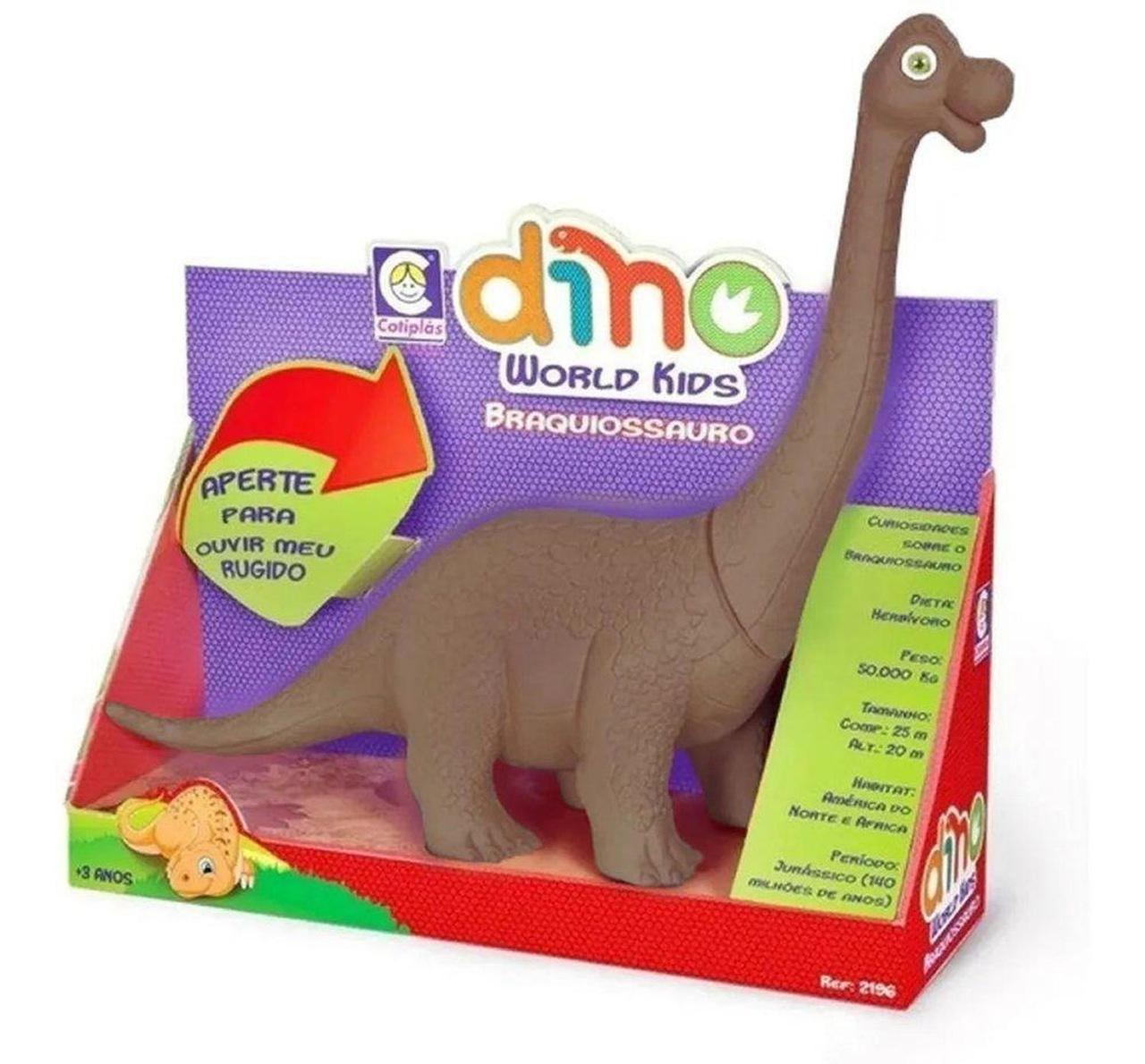 Boneco Dinossauro Braquiossauro Dino World Kids - Cotiplas