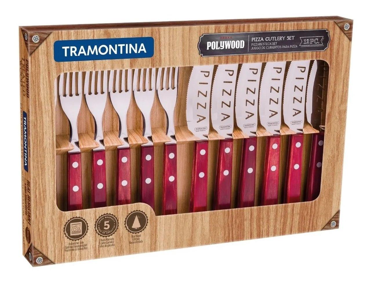 Jogo De Talheres para Pizza 12 Pçs  Polywood - Tramontina