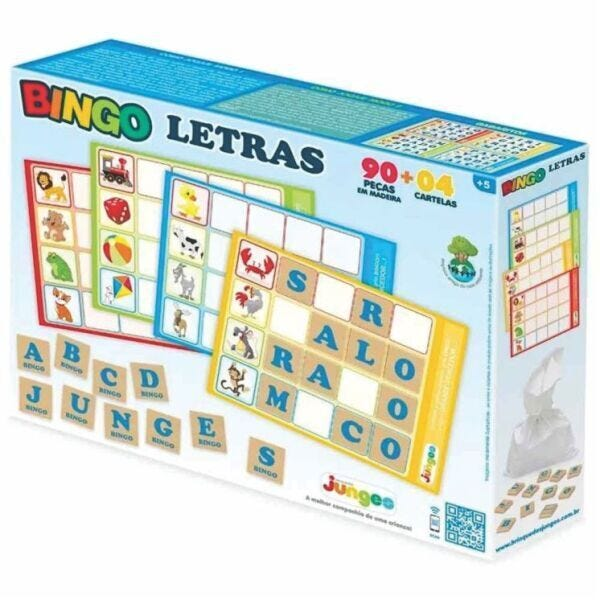 Jogo Educativo Bingo Letras 90 Peças - Junges