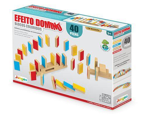 Jogo Efeito Domino Blocos Coloridos 40 Peças - Junges